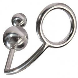 Titus Stainless Steel Cockring & Double Anal Ball - Medium Sex Toy