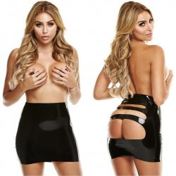 Latexwear: Premium Rear View Mini Skirt with Pasties - Black - M/L