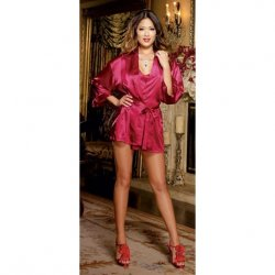 Charmeuse Short Length Kimono with Matching Chemise - Red - 1X/2X