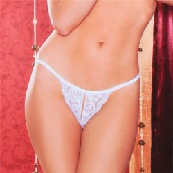 Tina Crotchless Thong - White