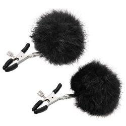 Sincerely Fur Nipple Clips - Black Sex Toy