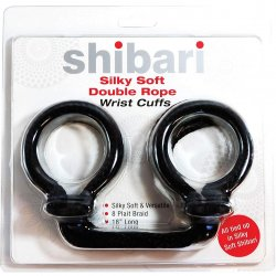 Shibari Silky Soft Double Rope Wrist Cuffs - Black Sex Toy