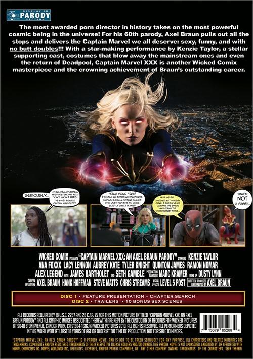 Back cover of Captain Marvel XXX: An Axel Braun Parody