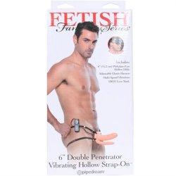 "Fetish Fantasy Double Penetrator Vibrating Hollow Strap-On - Cream 6"""