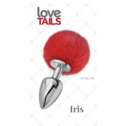 Love Tails: Iris Silver Plug with Red Pom Pom - Medium Sex Toy