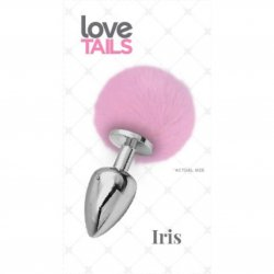 Love Tails: Iris Silver Plug with Pink Pom Pom - Medium Sex Toy