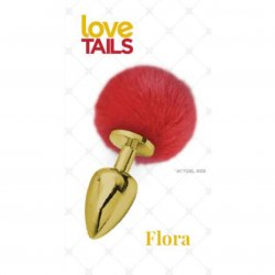 Love Tails: Flora Gold Plug with Red Pom Pom - Medium