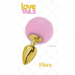 Love Tails: Flora Gold Plug with Pink Pom Pom - Medium Sex Toy
