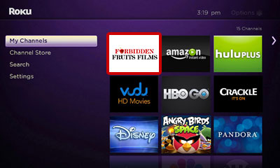 Open the Forbidden Fruits Films channel on your Roku Image