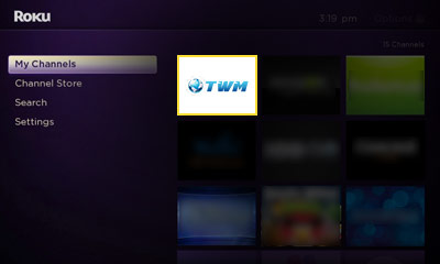 Open the Third World Media Membership channel on your Roku Image