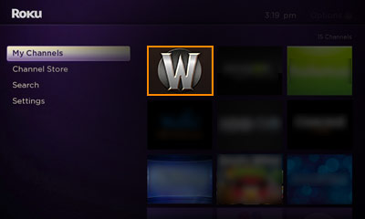 Open the Whorecraft HD channel on your Roku Image
